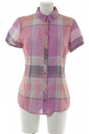 Tom Tailor Short Sleeve Shirt salmon-mauve glen check pattern simple style