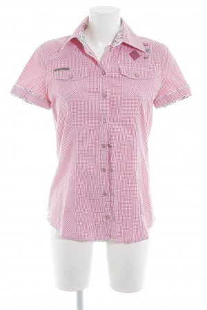 Tom Tailor Short Sleeve Shirt white-pink check pattern romantic style