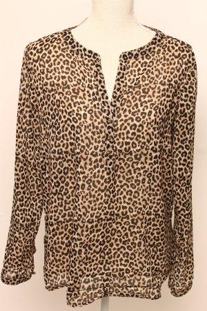 Tom Tailor l 40 Leo Tiger Bluse beige schwarz goldene Knöpfe animal print