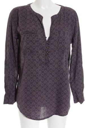 Tom Tailor Langarm-Bluse graubraun-dunkelviolett abstraktes Muster Casual-Look