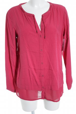 Tom Tailor Langarm-Bluse magenta Materialmix-Look