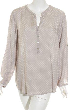 Tom Tailor Langarm-Bluse weiß-beige florales Muster Casual-Look