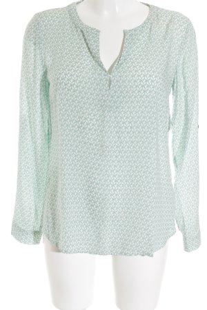 Tom Tailor Langarm-Bluse weiß-hellgrün florales Muster Casual-Look