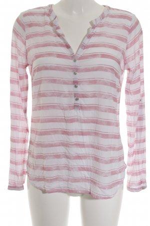 Tom Tailor Langarm-Bluse weiß-rosa Streifenmuster Casual-Look