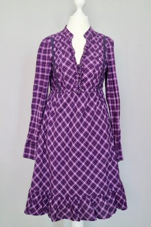 Tom Tailor Langarm Kleid mit V-Ausschnitt Gr. 34 lila kariert