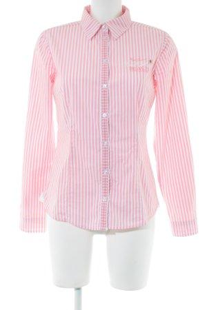 Tom Tailor Langarmhemd pink-weiß Schriftzug gedruckt klassischer Stil