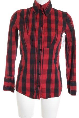 Tom Tailor Langarmhemd rot-schwarz Karomuster