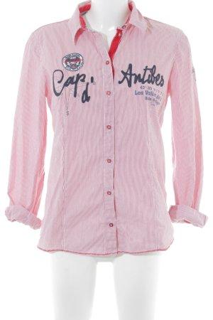 Tom Tailor Langarmhemd weiß-rot Schriftzug gedruckt Casual-Look