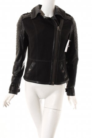 Tom Tailor Lederjacke schwarz Biker-Look