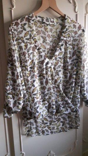 Tom Tailor leichte Chiffon Bluse Wickelstil Schmetterling Print 38