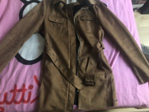 Tom Tailor Leather Coat brown