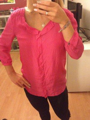 Tom Tailor pink Seide Bluse Silk Rosa S 34 36 38 Shirt 3/4-ärmlig Volants