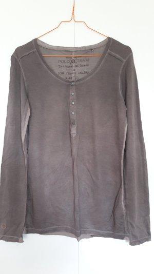 Tom Tailor Polo Henley-Shirt Longsleeve taupe Gr. S