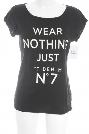 Tom Tailor Print Shirt black-white printed lettering athletic style