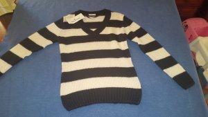 Tom Tailor V-Neck Sweater white-black
