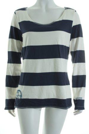 Tom Tailor Pullover weiß-dunkelblau Streifenmuster Casual-Look