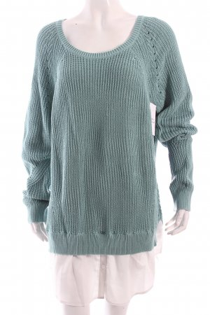 Tom Tailor Sweater Dress turquoise-white classic style