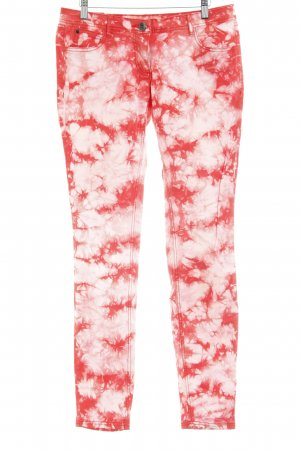 Tom Tailor Drainpipe Trousers white-red batik pattern acid wash