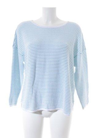 Tom Tailor Rundhalspullover weiß-kornblumenblau Streifenmuster Casual-Look