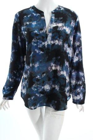 Tom Tailor Schlupf-Bluse dunkelblau-schwarz abstraktes Muster Casual-Look