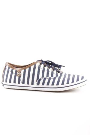Tom Tailor Schnürsneaker weiß-dunkelblau Streifenmuster Casual-Look