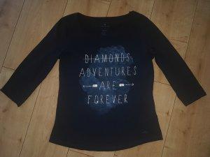 Tom Tailor Shirt Longsleeve Langarmshirt 3/4 Arm Diamonds Adventures Forever Strassteine Dunkelblau S 36