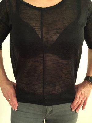Tom Tailor Shirt schwarz/transparent mit Leder-Details am Ausschnitt Größe XS