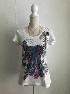 Tom Tailor Shirt XS Steinchen Strass Bunt Shirt Top 34 Pfau
