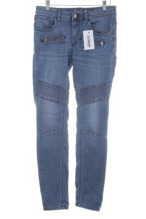 Tom Tailor Skinny Jeans kornblumenblau Biker-Look