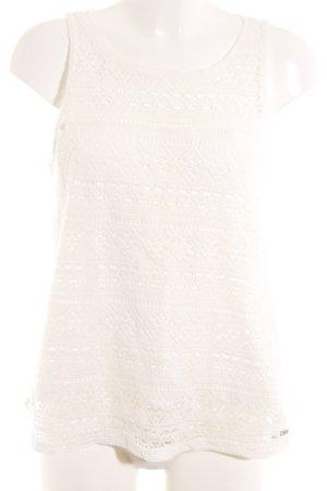 Tom Tailor Top de encaje blanco puro estampado azteca estilo romántico