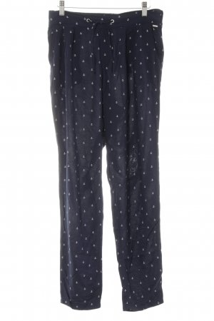 Tom Tailor Stoffhose dunkelblau-creme Allover-Druck Marine-Look
