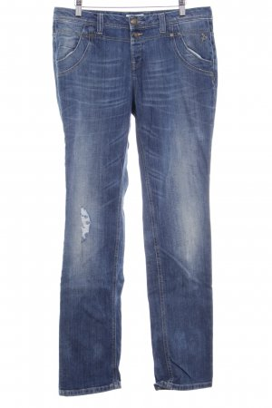 Tom Tailor Straight-Leg Jeans blau Destroy-Optik