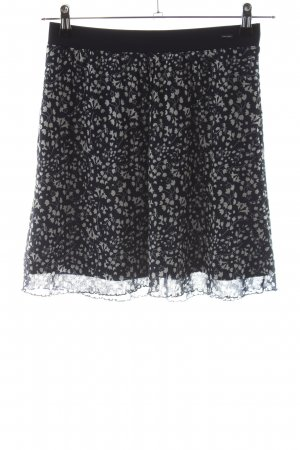 Tom Tailor Stretch Skirt black-light grey flower pattern casual look