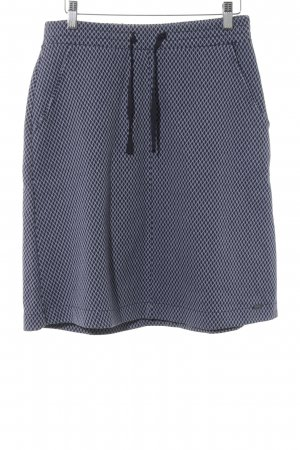 Tom Tailor Stretchrock weiß-dunkelblau grafisches Muster Casual-Look