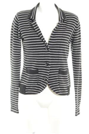 Tom Tailor Gebreide blazer zwart-wit horizontale strepen casual uitstraling
