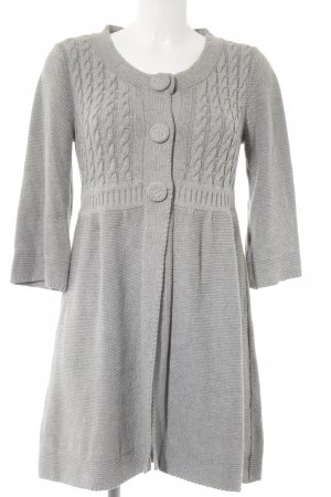 Tom Tailor Strickjacke hellgrau Zopfmuster Casual-Look