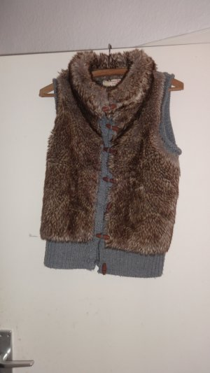 Tom Tailor Gilet tricoté gris-gris brun