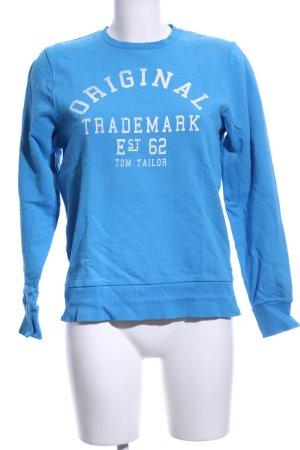 Tom Tailor Sweatshirt bleu-blanc lettrage imprimé style décontracté