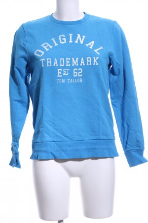 Tom Tailor Sweatshirt blau-weiß Schriftzug gedruckt Casual-Look