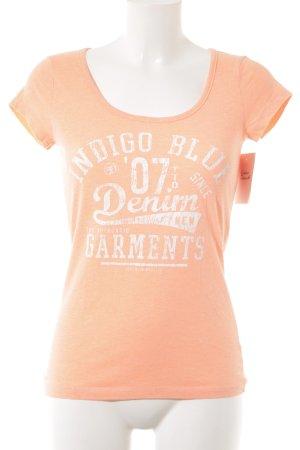 Tom Tailor T-Shirt apricot Schriftzug gedruckt Casual-Look