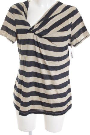 Tom Tailor T-Shirt beige-dunkelblau Streifenmuster Casual-Look