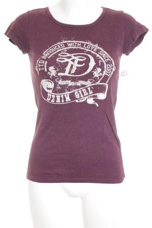 Tom Tailor T-Shirt bordeauxrot Schriftzug gedruckt Casual-Look