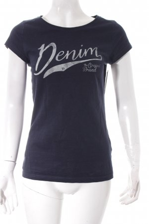 Tom Tailor T-Shirt dunkelblau-weiß Schriftzug gedruckt Casual-Look