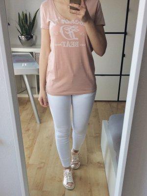 TOM TAILOR T-Shirt Shirt rosé nude weiß V-Ausschnitt Größe XS