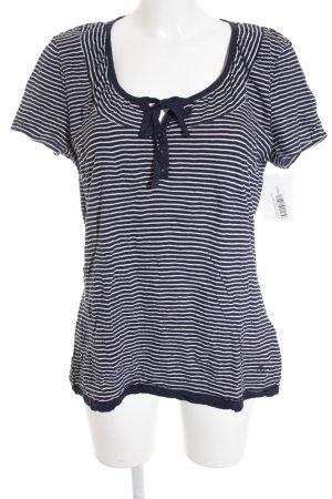 Tom Tailor T-Shirt weiß-dunkelblau Streifenmuster Casual-Look