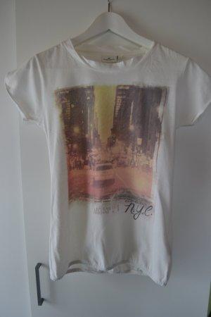 Tom Tailor T-Shirt weiß mit Druck Gr. 36
