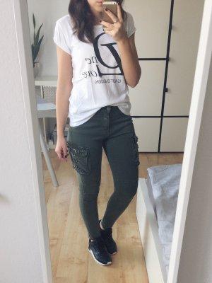 TOM TAILOR T-Shirt weiß Print schwarz Gr. S