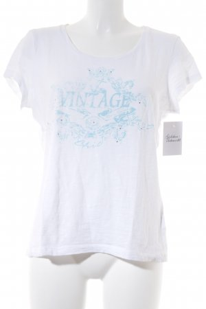Tom Tailor T-Shirt wollweiß-himmelblau grafisches Muster Casual-Look