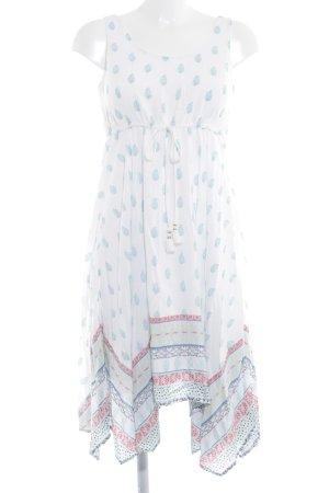 Tom Tailor Trägerkleid weiß-blassblau abstraktes Muster Casual-Look
