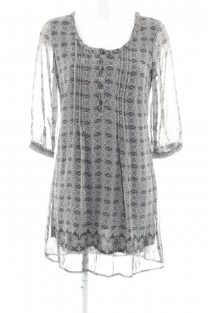 Tom Tailor Tunic Dress black-light grey floral pattern simple style